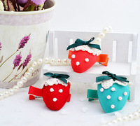 Free Shipping, 21 pcs Kids Accessories Baby Girls Bow Hair clip Strawberry barrettes lovely child headwear C20