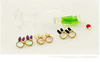 Hot Sale British&USA Personality Small Rabbit Shape Rhinestone Alloy Girl Multicolor Earring ear jewelry wholesale