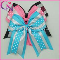 Free Shipping 30 Pcs/lot Dots Cheer Bow For Girls,Ribbon Cheer Bow With Elastic Band,Large Cheer Bow Elastic Band CNEHB-1404282