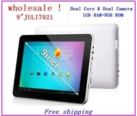 "Wholesale  9"" Dual Core CPU Android 4.2 1GB RAM 8GB ROM  NAND Flash Action ATM7021 WIFI Dual Cameras HDMI 9 inch tablet pc"