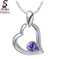 Wholesale AAA Zirconia pendants, 925 silver women necklace pendants heart shape with water drop purple crystal