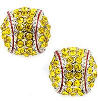 2014 New fashion Softball Earrings Stud Crystal Rhinestone Silver Bling white Fastpitch Earring