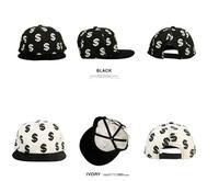 Free shipping  Dollar Flat Peak Cap Fitted Hip Hop Hat Bling Street Baseball Caps