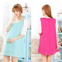 2014 new  summer fashion maternity clothing maternity dress o-neck patchwork beading half sleeve chiffon one-piece dress