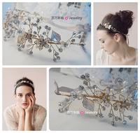T & h aesthetic series handmade beaded rhinestone the bride hair band hair accessory hair accessory accessories wedding dress