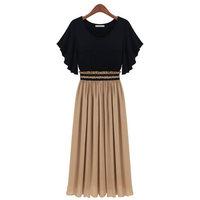 2014 new  spring and summer fashion maternity clothing slim waist chiffon one-piece dress plus size short sleeve length skirt