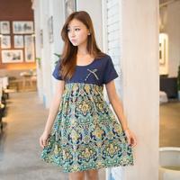 2014 new  spring and summer plus size maternity dress maternity basic one-piece dress chiffon skirt  free shipping