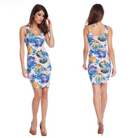 Hot 2014 sexy summer colorful Strapless Ink Painting Print  Dress