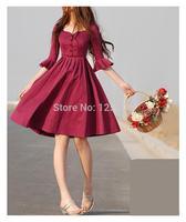 Mori Girl slim dress ruffle sleeve shanel women expansion bottom clothes dress girl spring summer dress Vestido Chaquetas Mujer