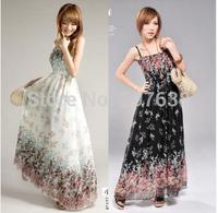 Women Bohemian Large swing floral chiffon spaghetti strap dress free shipping