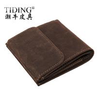 2014 New Arrival Brand Hasp Short Design Vintage Men's Genuine Leather Wallets / Purse / Coins Wallets