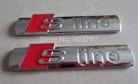 10pcs metal shinny  SLINE s line sticker emblem shiny black silver Chrome badge  wholesale