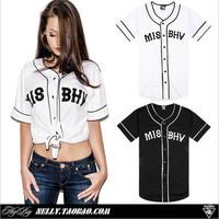 2014 HOT Unisex Misbhv Summer Westcoast Hiphop Vintage PYREX Short-sleeve Baseball Clothing Shirt Male Baseball Uniform 851208