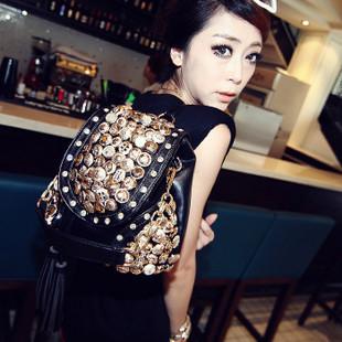 Free Shipping 2014 new wholesale hot handbag rivet buttons tassel bag diagonal package female bag hand shoulder bag with three(China (Mainland))