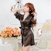 Hot sale women sexy lingerie black white 6 colors sexy sleepwear silk female nightdress robe sexy lingerie free shipping