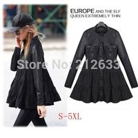 UK  Brand 2014 New  ZA Women Spring Winter Plus size XL XXL XXXL 4XL 5 XL Dress Black Long Sleeves Leather Mini dress Vestido