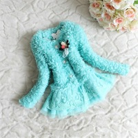 Retail Korean fashion jacket soft plush coat Girls hairy lace jackets Clothes Children Sweet flower Warm clothes Free Shipping