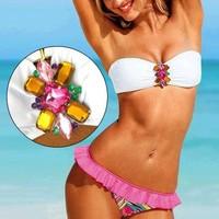 brand  push up bikini set rhinestone diamond decor 3082 women swimwear bandage swimsuit for bathing swim suit beach wear