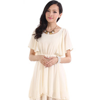 Free shipping New 2014 women One-piece dress short-sleeve solid color chiffon dress sweet  women one-piece dress