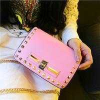Fashion candy color 2014 women's handbag rivet chain mini bag messenger bag casual bag