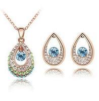 CS78 Fashion Austria crystal full rhinestone drop necklace  Earrings Set jewelry sets wholesale B20