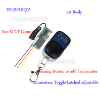 DC3V DC5V Remote Control Switch System Mini Volume Transmitter Receiver Add Transmitter Easy Momentary Toggle Latched Adjust