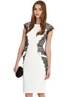 2014 new fashion women sexy lace-side waist ruffles sheath pencil cocktail dress black gold embroidery summer brand dresses XXL