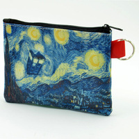 5pcs/Lot Hipster Coin Purse Doctor Who Tardis van Gogh Starry Night Style Zipper Wallet Size 5.5x4.0''inch