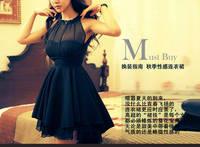 New 2014 Fashion Summer Women Sexy Dress transparent mesh Chiffon Patchwork Halter casual Dresses 94B71