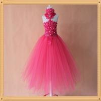 "6""crochet tutu dress for girls handmade 2layers flower petal girls dress princess with matched headband 1pc free shipping"