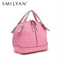 Smilyan genuine leather handbags candy color shell bag fashion women tote bag medium women's messenger bag free shipping