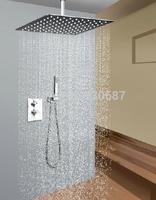 "12""Brass Rainfall Shower Head Wall Mounted Shower Faucet Chrome Polished"