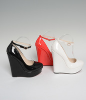 New 2014 Brand 16cm wedges Patent leather sexy women's shoes 3cm waterproof wedding shoes red bottom pumps Big size:40-44 45 46
