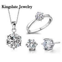 with box / 18K White gold plated silver jewelry Set Wedding Stone gem crystal CZ Zircon Ring Necklace Earring set Finely Cut