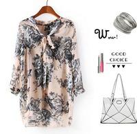 CL1575 European Style Chiffon Fashion V-Neck Print Three Quarter Sleeve  Floral Print Tops Blouse Women Shirt  Summer Lady Wear