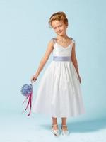 V Neck Ankle Length White Flower Girl Dresses