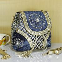 2014 double-shoulder denim knitted rhinestone bags big  portable one shoulder cross-body women's handbag bucket bags