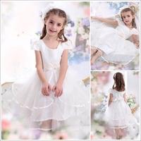 Short Sleeves Tea Length Bow White Flower Girl Dress