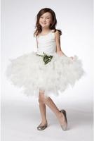Knee Length A Line Tulle White Flower Girl Dress