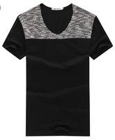 free shipping men's v-neck t shirt , men's patchwork slim fit t-shirt , men cooling summer dress 18