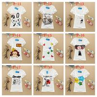 Free Shipping New Summer Fashion Cotton 20 Style Short Sleeve Women T-Shirt Girl Blouses Women Clothing #6045