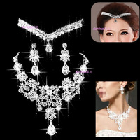 The bride accessories double layer drop hair accessory crystal necklace female three pieces set c801