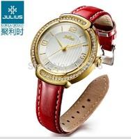 New 2014 Korea Brand JULIUS Big Dial Fashion Quartz Women Watch,Casual Intellectual Ladies Leather Strap Wristwatches JA-690