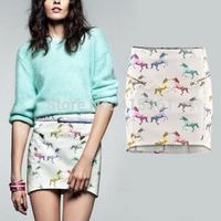 2014 Newest Fashion Colorful Horse Print Skirt Front Dounble Fake Zipper Pockets Mini Vintage Kilt Women Fillibeg