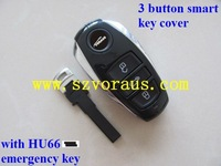 V w Touareg 3 button smart key cover with HU66 emergency key & v w key shell & car key blank