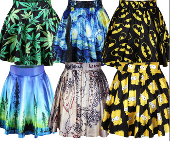 Восток вязание новый 2014 лето женская плиссированные юбки чеширский кот нана приключения время смешно симпсон юбка Saia sml XL Большой размер