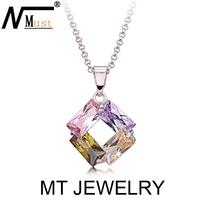 MT Limited Crystal CZ Jewelry Emerald Radiant Cut Multicolor Zircon Square Pendant Necklace