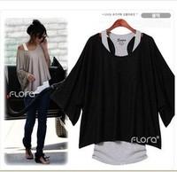 Fashion Women's Clothing Batwing Dolman Short Sleeve Loose Tops Vest T-Shirt Blouse Blue Black Gray S M L XL XXL Free Shipping