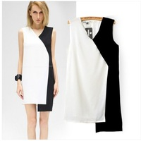 2014 Brand New Fashion Women's Brief Black & White Patchwork Irregular Dress Dresses SML