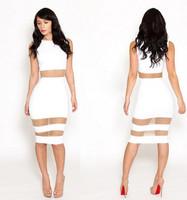 White Bandage Bodycon Sleeveless Sexy Dress Mesh Patchowrk Transparent New Fashion Women Party&Club Dresses Vestido